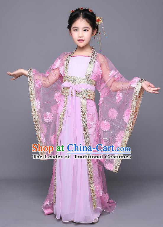Traditional Chinese Tang Dynasty Imperial Concubine Embroidered Pink Costume, China Ancient Palace Lady Hanfu Clothing for Kids