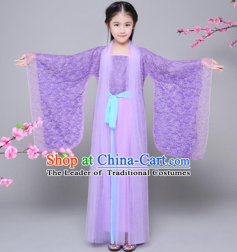 Traditional Chinese Tang Dynasty Palace Princess Costume, China Ancient Fairy Hanfu Embroidered Purple Dress for Kids