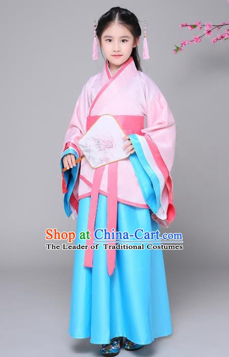 Traditional Chinese Han Dynasty Palace Princess Costume, China Ancient Hanfu Embroidered Clothing for Kids
