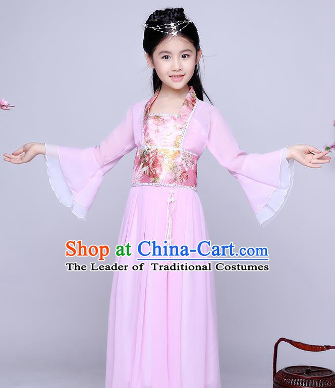 Traditional Chinese Tang Dynasty Seven Fairy Costume Ancient Princess Pink Dress Clothing for Kids