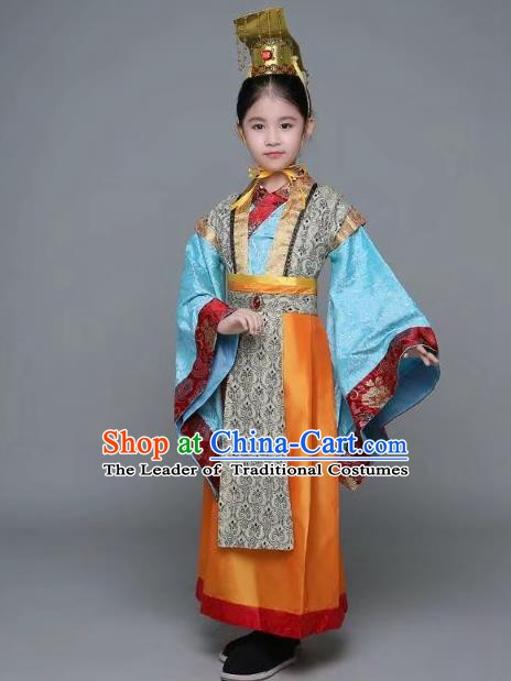 Traditional Chinese Qin Dynasty Emperor Costume, China Ancient Majesty Embroidered Robe for Kids