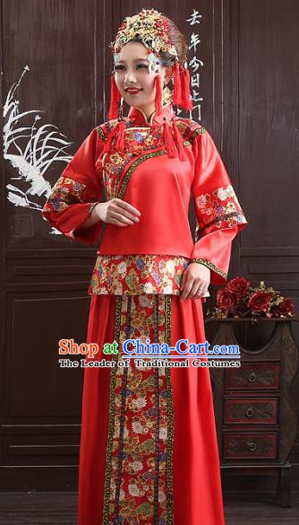 Chinese Traditional Wedding Bride Costume Xiuhe Suits China Ancient Embroidered Toast Clothing for Women