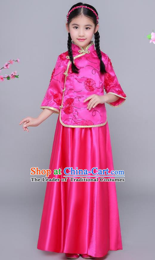 Traditional Chinese Republic of China Nobility Lady Clothing, China National Embroidered Rosy Blouse and Skirt for Kids