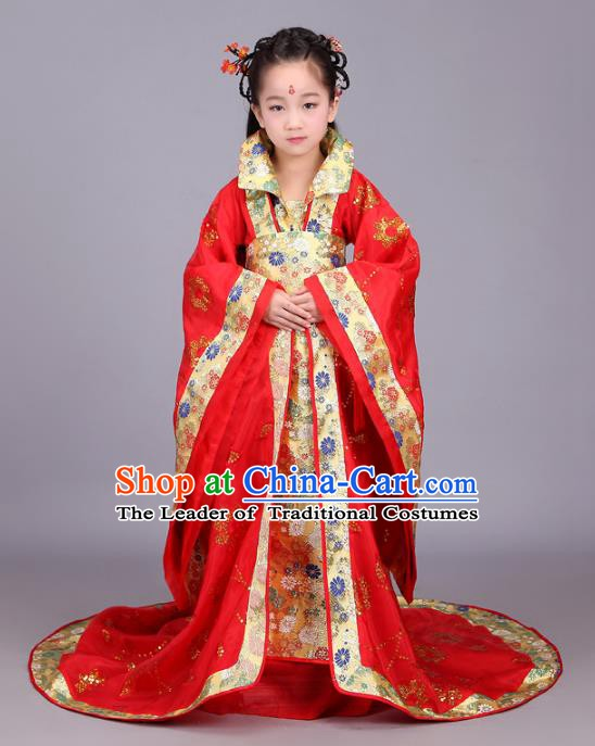 Traditional Chinese Tang Dynasty Palace Lady Red Costume, China Ancient Imperial Consort Hanfu Trailing Dress Clothing for Kids