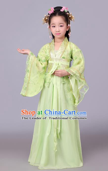 Traditional Chinese Tang Dynasty Palace Lady Costume, China Ancient Princess Hanfu Green Dress Clothing for Kids