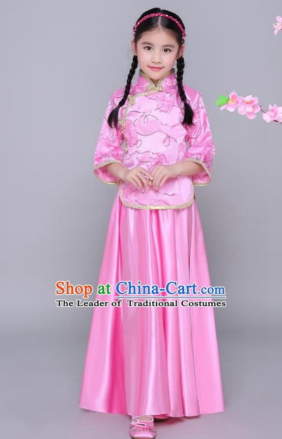 Traditional Chinese Republic of China Nobility Lady Clothing, China National Embroidered Pink Blouse and Skirt for Kids