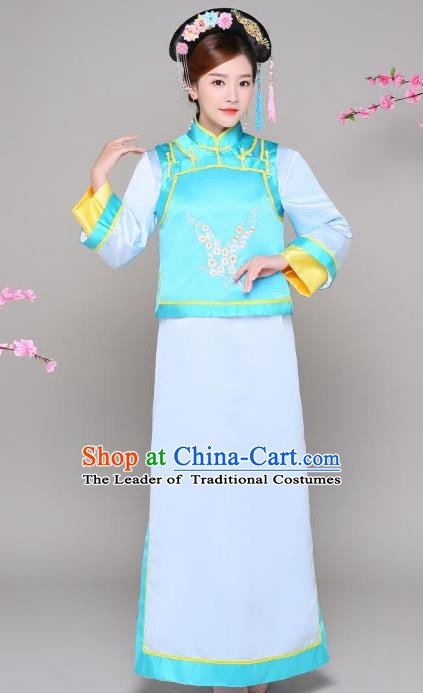 Traditional Chinese Qing Dynasty Manchu Princess Blue Costume, China Ancient Palace Lady Embroidered Clothing for Women