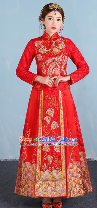 Ancient Chinese Wedding Costume Xiuhe Suits Traditional Embroidered Phoenix Peony Flown Bride Toast Cheongsam for Women