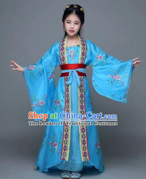 Traditional Chinese Tang Dynasty Imperial Princess Costume, China Ancient Palace Lady Hanfu Trailing Dress Clothing for Kids
