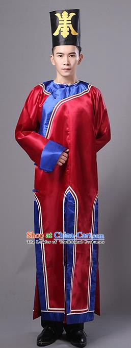 Traditional Chinese Qing Dynasty Manchu Eunuch Costume, China Ancient Cosplay Zombie Red Robe Clothing for Kids