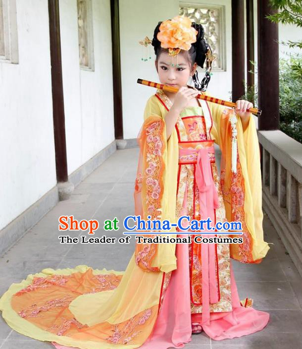 Traditional Ancient Chinese Imperial Consort Costume, China Tang Dynasty Palace Lady Trailing Embroidered Clothing for Kids