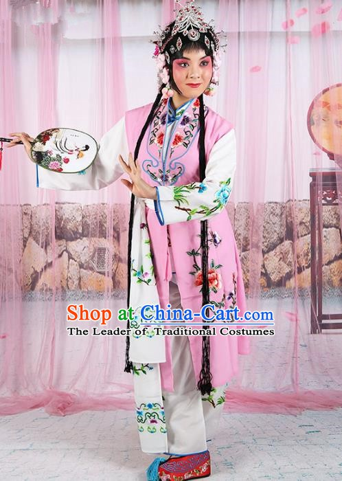 Chinese Beijing Opera Young Lady Embroidered Pink Costume, China Peking Opera Actress Embroidery Clothing