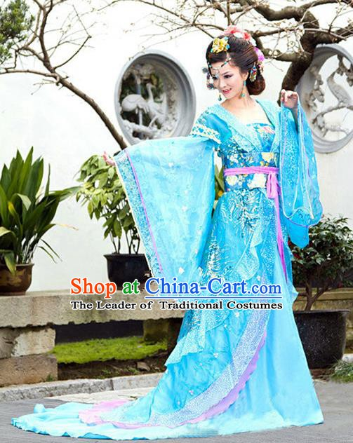 Traditional Ancient Chinese Imperial Consort Blue Costume, China Tang Dynasty Palace Lady Trailing Embroidered Clothing for Women