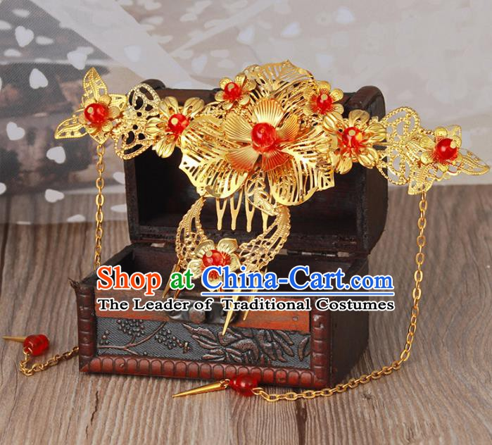 Traditional Handmade Chinese Classical Hair Accessories Hanfu Hairpins Tassel Hair Comb for Women