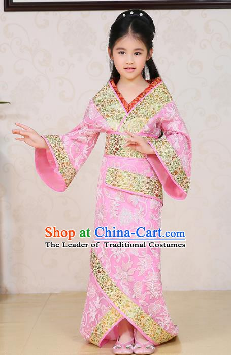 Traditional Chinese Han Dynasty Palace Lady Costume Pink Curving-front Robe, China Ancient Princess Hanfu Clothing for Kids