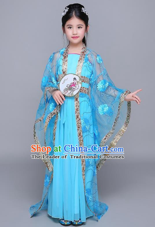 Traditional Chinese Tang Dynasty Fairy Palace Lady Costume, China Ancient Princess Hanfu Blue Dress Clothing for Kids