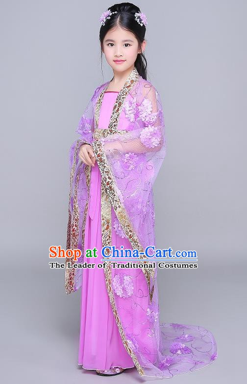 Traditional Chinese Tang Dynasty Fairy Palace Lady Costume, China Ancient Princess Hanfu Purple Dress Clothing for Kids