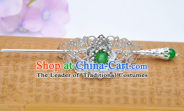 Traditional Handmade Chinese Classical Hair Accessories Hairpin Han Dynasty Nobility Childe Green Bead Hairdo Crown for Men