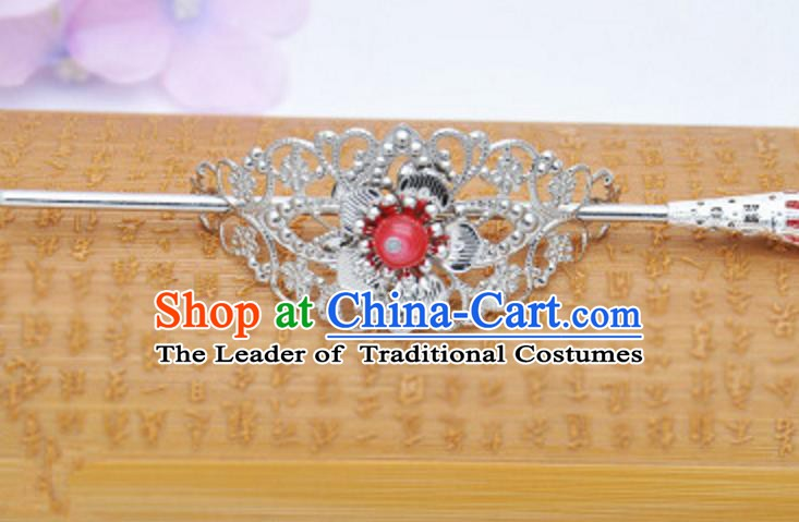 Traditional Handmade Chinese Classical Hair Accessories Hairpin Han Dynasty Nobility Childe Red Bead Hairdo Crown for Men