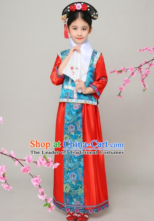 Traditional Chinese Qing Dynasty Court Princess Red Costume, China Manchu Palace Lady Embroidered Clothing for Kids