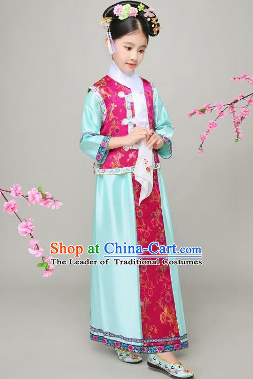 Traditional Chinese Qing Dynasty Court Princess Blue Costume, China Manchu Palace Lady Embroidered Clothing for Kids