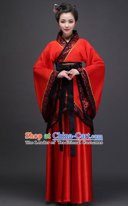 Traditional Chinese Ancient Bride Wedding Costume, China Han Dynasty Palace Princess Embroidered Clothing for Women