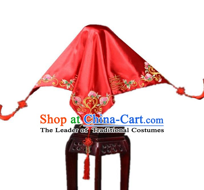 Traditional Handmade Chinese Classical Hair Accessories Wedding Red Bridal Veil for Women