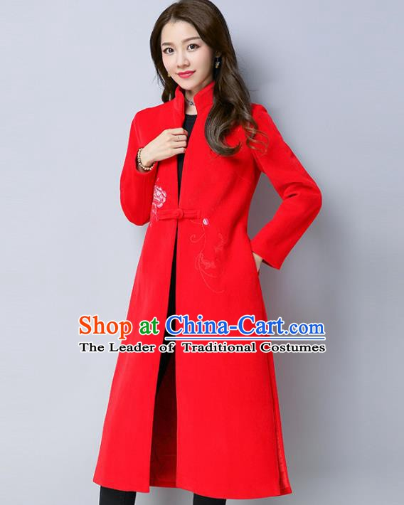Traditional Chinese National Costume Hanfu Printing Red Cotton-padded Coats, China Tang Suit Dust Coat for Women
