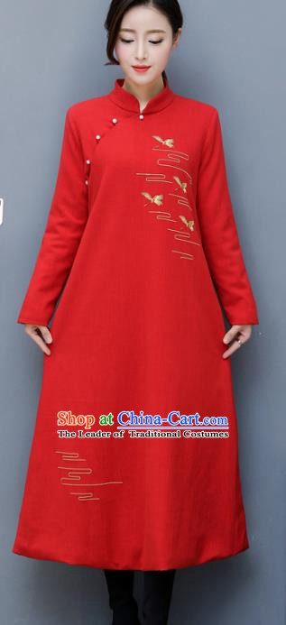 Traditional Chinese National Costume Hanfu Embroidered Red Qipao, China Tang Suit Cheongsam Dress for Women