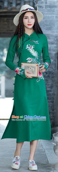Traditional Chinese National Costume Hanfu Embroidered Peony Green Qipao, China Tang Suit Cheongsam Dress for Women
