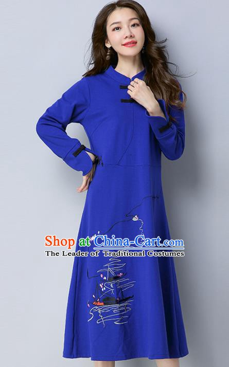 Traditional Chinese National Costume Hanfu Embroidered Blue Qipao Dress, China Tang Suit Cheongsam for Women
