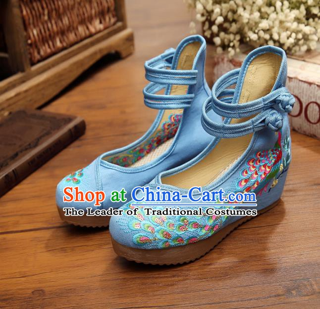 Asian Chinese National Blue Embroidered Peacock Shoes, Traditional China Princess Shoes Hanfu Embroidery Shoes for Women