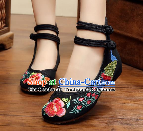 Asian Chinese National Embroidered Peony Phoenix Black Shoes, Traditional China Princess Shoes Hanfu Embroidery Shoes for Women