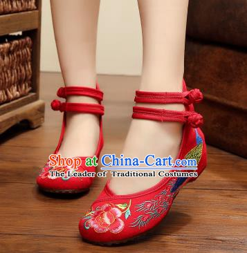 Asian Chinese National Embroidered Peony Phoenix Red Shoes, Traditional China Princess Shoes Hanfu Embroidery Shoes for Women