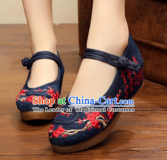 Asian Chinese National Black Linen Embroidered Shoes, Traditional China Princess Shoes Hanfu Embroidery Wintersweet Shoes for Women