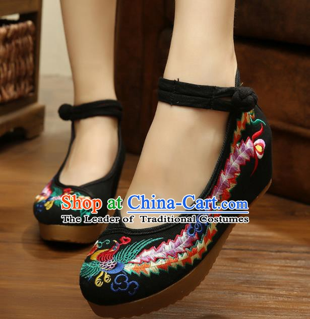Asian Chinese National Black Embroidered Shoes, Traditional China Princess Shoes Hanfu Embroidery Phoenix Shoes for Women