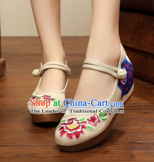 Traditional Chinese National White Linen Embroidered Shoes, China Princess Shoes Hanfu Embroidery Peony Shoes for Women