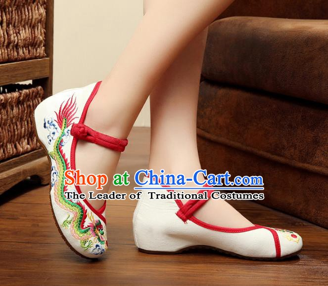 Traditional Chinese National White Satin Embroidered Lotus Shoes, China Princess Shoes Hanfu Embroidery Dragons Shoes for Women