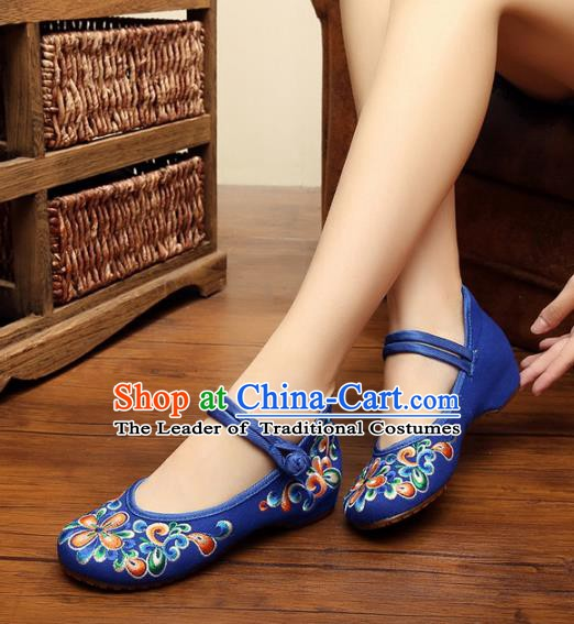Traditional Chinese National Blue Embroidered Shoes, China Princess Shoes Hanfu Embroidery Shoes for Women