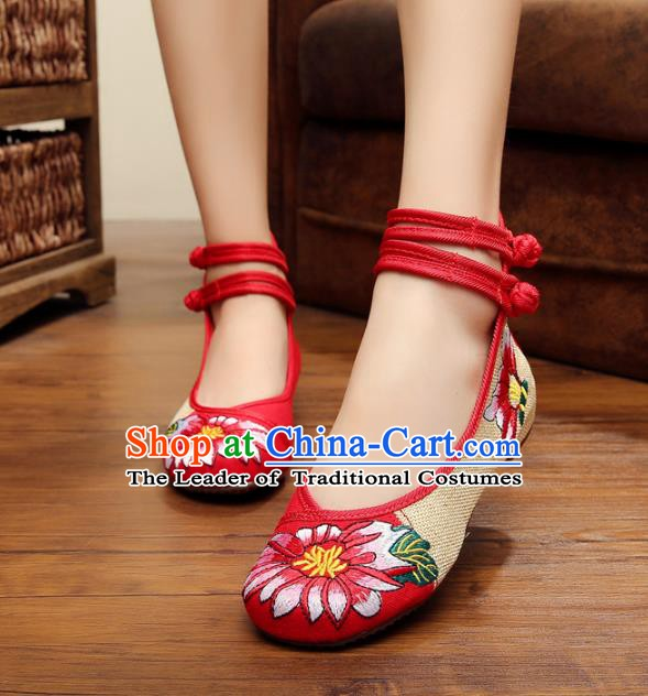 Traditional Chinese National Red Linen Embroidered Shoes, China Princess Shoes Hanfu Embroidery Flower Shoes for Women