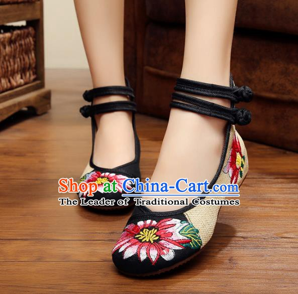Traditional Chinese National Black Linen Embroidered Shoes, China Princess Shoes Hanfu Embroidery Flower Shoes for Women