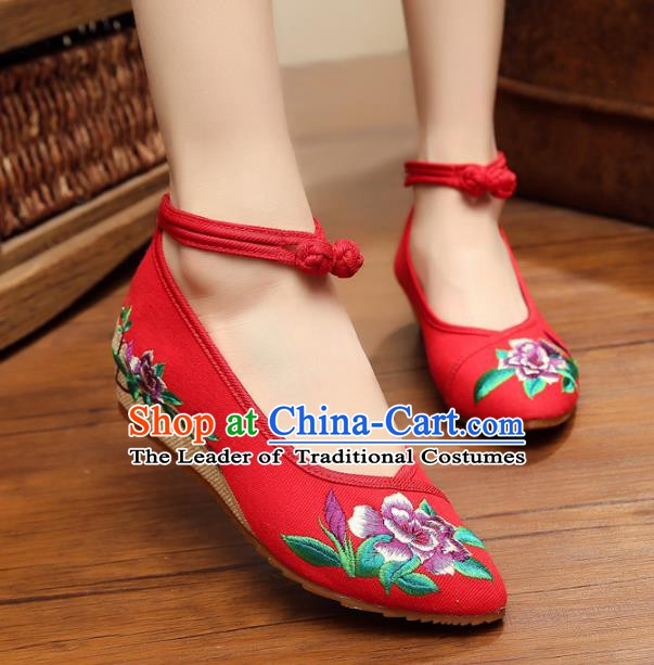 Traditional Chinese National Hanfu Shoes Red Embroidered Shoes, China Princess Shoes Embroidery Flowers Shoes for Women