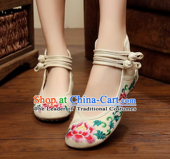 Traditional Chinese National Hanfu Shoes Embroidered Peony Shoes, China Princess White Embroidery Shoes for Women