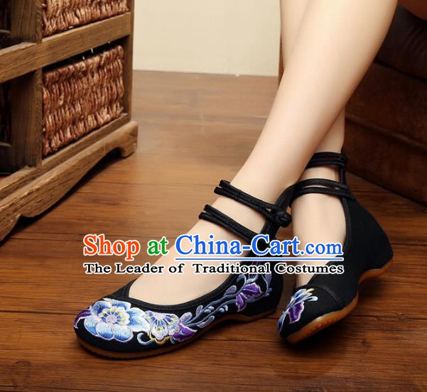 Traditional Chinese National Wedding Shoes Black Embroidered Peony Shoes, China Princess Embroidery Shoes for Women
