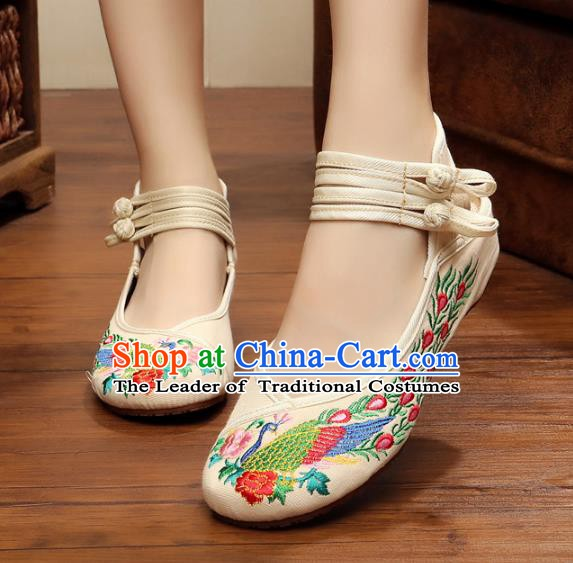 Traditional Chinese National White Embroidered Shoes, China Princess Embroidery Phoenix Peony Shoes for Women
