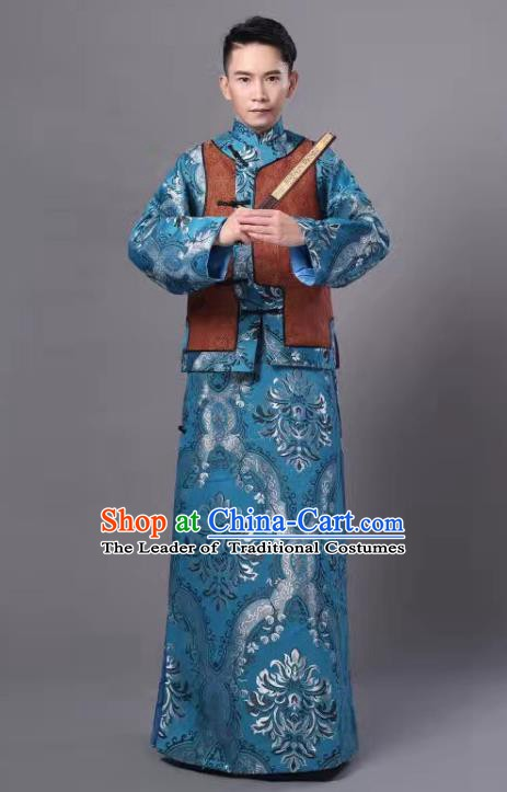 Traditional Chinese Qing Dynasty Court Prince Costume, China Ancient Manchu Embroidered Robe and Mandarin Jacket for Men
