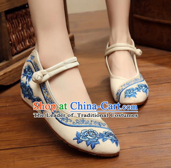 Traditional Chinese National White Hanfu Linen Embroidered Shoes, China Princess Shoes Embroidery Flowers Shoes for Women