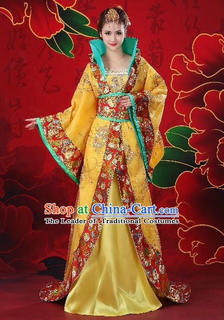 Traditional Chinese Ancient Palace Lady Costume, China Tang Dynasty Imperial Consort Embroidered Trailing Clothing for Women
