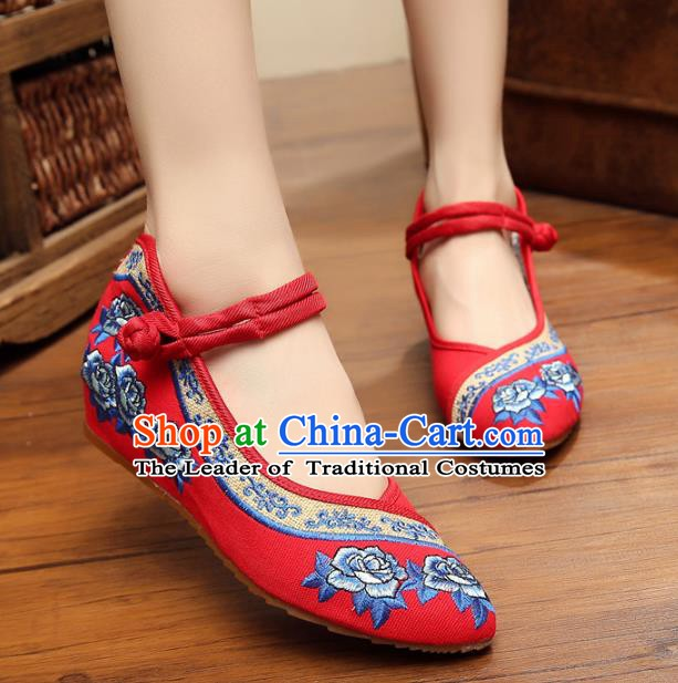 Traditional Chinese National Red Hanfu Linen Embroidered Shoes, China Princess Shoes Embroidery Flowers Shoes for Women