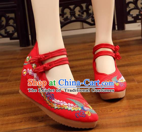Traditional Chinese National Hanfu Wedding Red Embroidered Shoes, China Princess Embroidery Phoenix Shoes for Women